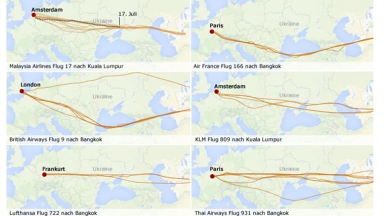 A graphic from Der Spiegel showing that Malaysia Airlines was not alone in flying over the trouble zone.