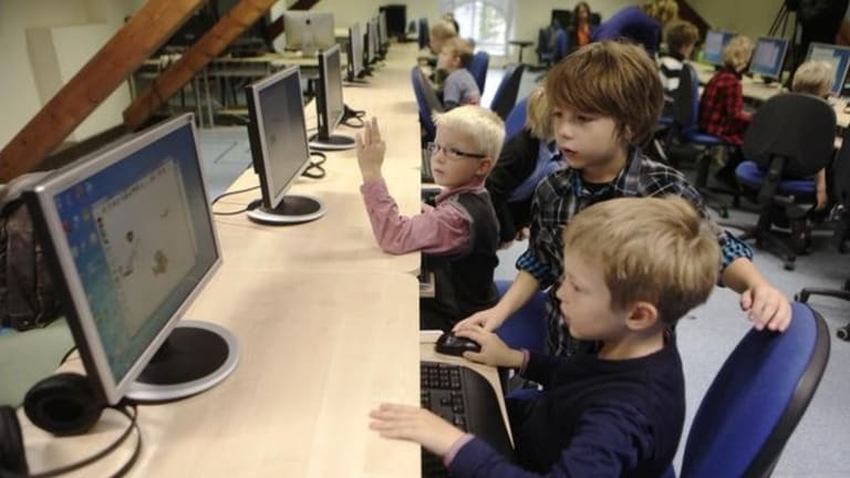 Learning early: Grade one students in Estonia learn simple computer coding as part of the Estonian Tiger Leap Foundation which aims to teach students coding from the early to final years of schooling.