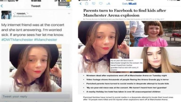 Gemma's image was used in fake missing person reports after the Manchester tragedy.