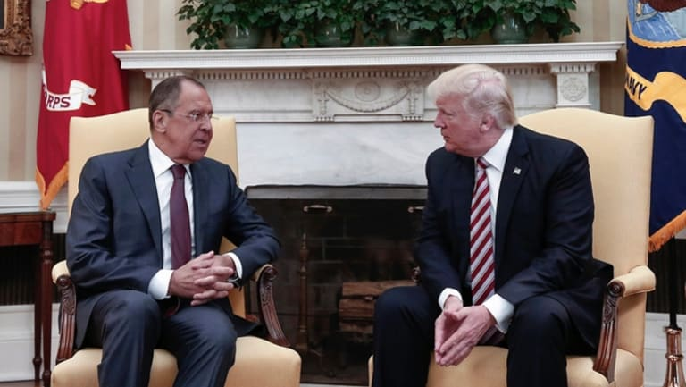 Donald Trump and Russian Foreign Minister Sergei Lavrov during the meeting at the White House.