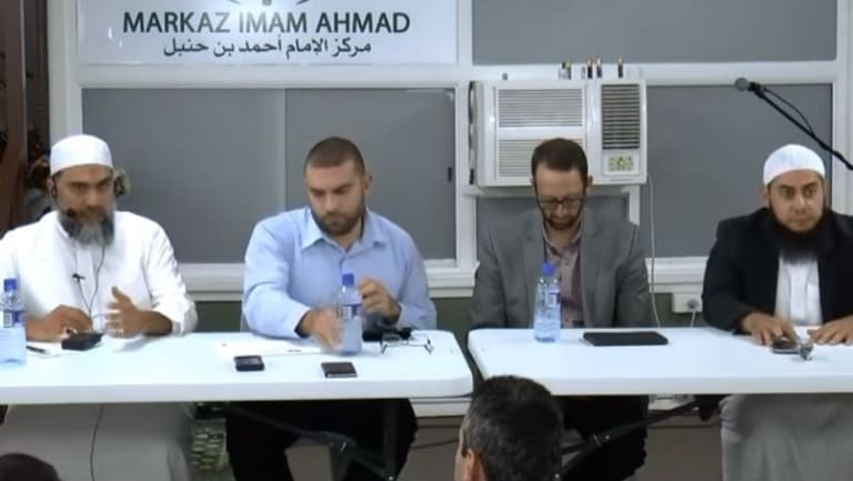 A panel session at Liverpool's MIA mosque featuring Sheikh Abu Adnan (left) and police officer Danny Miqati (second from left) that attracted the ire of Abu Haleema.
