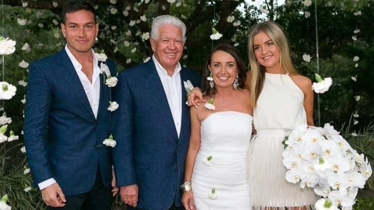 Family ties: (from left) Marcus Blackmore's son Alexander Borromeo, Blackmore, his wife Caroline and her daughter Imogen Merrony at their wedding.