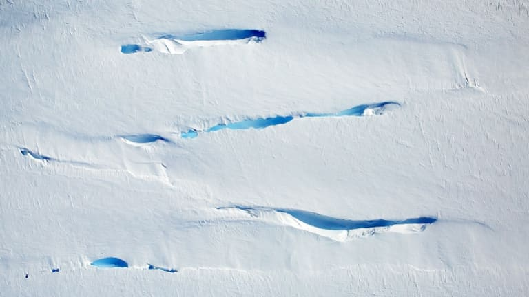 Sheets of ice breaking up and melting in the George VI Sound Ice Shelf.