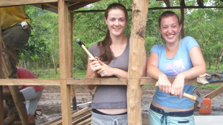 Volunteers on site at construction of a community centre in Costa Rica.