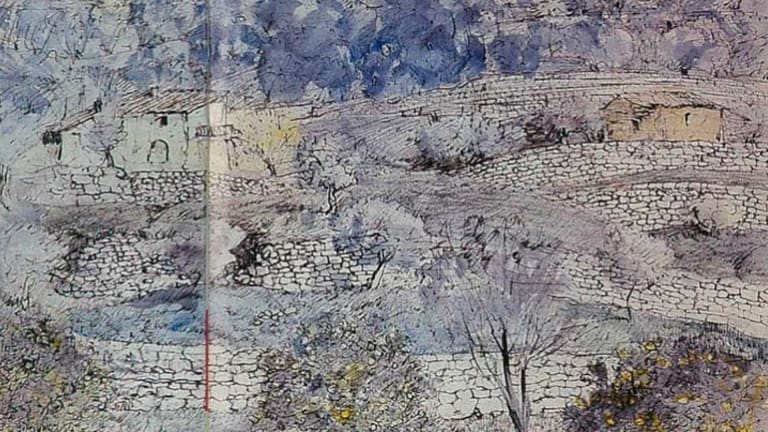 <i>Moorish Terraces, Majorca</i>. Pen and ink wash on paper, 1967.