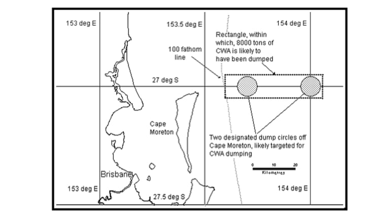 Likely dump area for 8000 tonnes of chemical warfare agent off Brisbane.