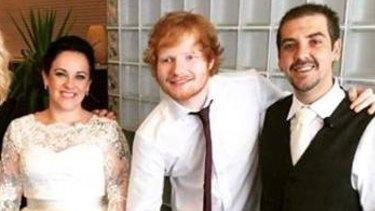 Ed Sheeran with newlyweds Matt and Kya Debono.