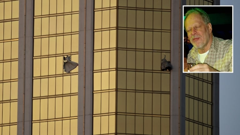 Stephen Paddock (inset) used a hammer to smash the window of his room in the Mandalay Bay Resort and Casino.