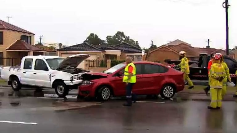 The heavy rainfall caused a string of prangs on Perth's roads.