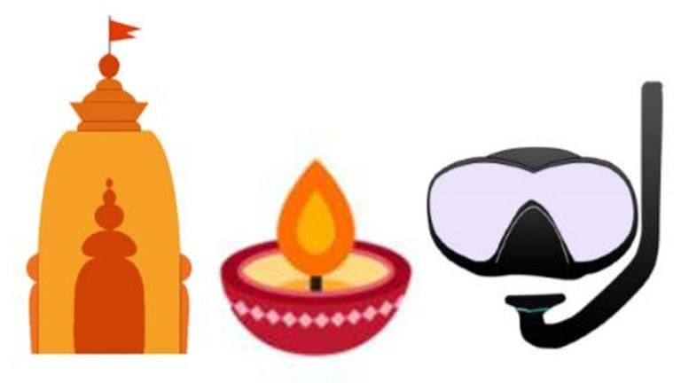 Suggested representations for a Hindu temple, oil lamp and snorkel mask emoji, which have been added to a draft lift of candidates.