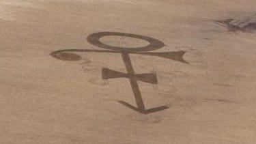 Prince symbol cut into a field in North Dakota.