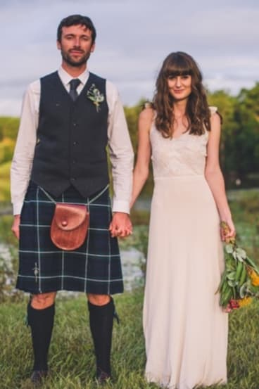Rebecca Jamieson and her husband Ross on their wedding day this year.