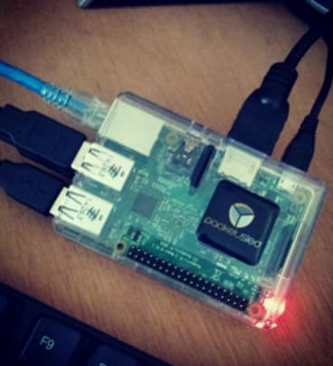 The hardware used to automate an attack against the 1970 bug, including a Raspberry Pi and an Alfa antenna.