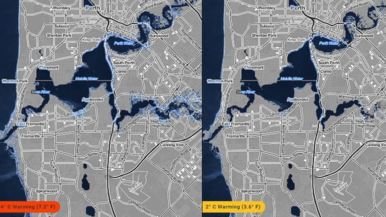 The global mappting project shows suburbs along the Swan River will be inundated if sea levels rise.