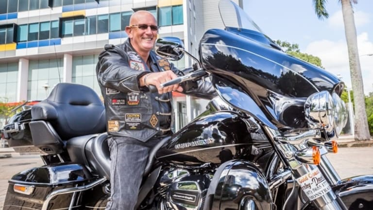 Gold Coast man Greg Kelly is riding a Harley-Davidson to raise funds and awareness for the 413,000 Australians living with dementia.