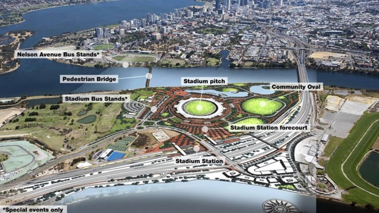 Aerial photo of the Perth Stadium site with the design by the winning contract.
