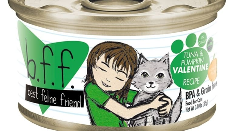 An example of a BFF brand cat food tin.