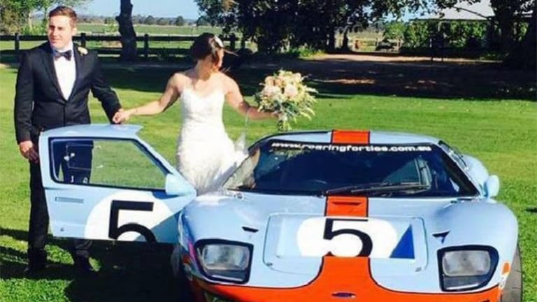 Adam Cranston, with his bride Elizabeth Rouhliadeff on October 15, 2016. This car was seized during a AFP raid on his Bondi home.