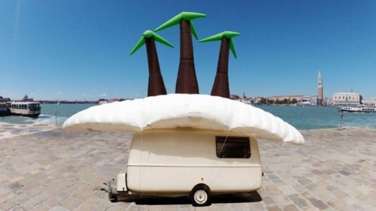Soren Dahlgaard's inflatable tropical island visits Venice.
