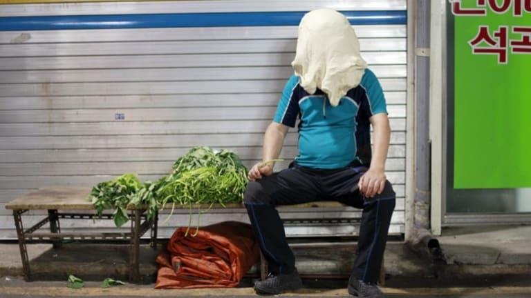 Spinach Man, Gwangju, South Korea (detail), 2012. From Dough Portraits.
