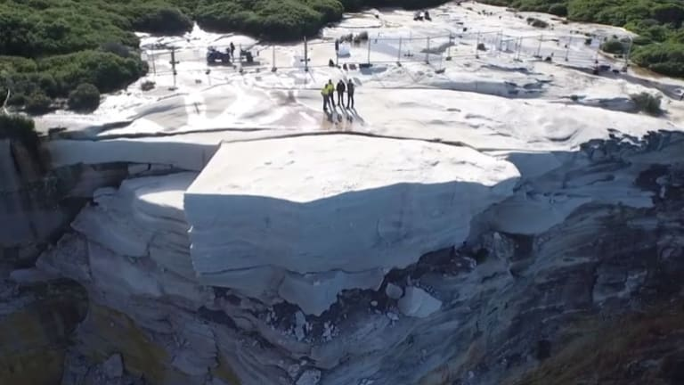 Wedding Cake Rock 'at risk of collapsing into the sea'