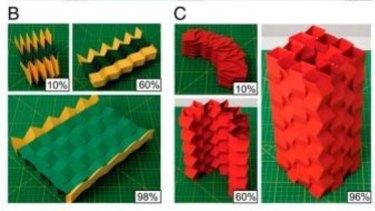 Prototype origami structures designed by Glaucio Paulino and Evgueni Filipov. B: an expandable bridge; C: architectural designs.