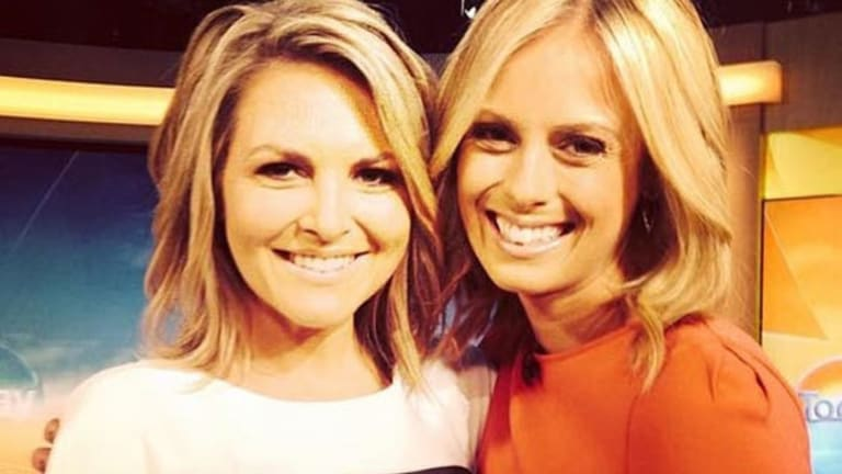 Former Today newsreader Georgie Gardner (left) on the set of the breakfast show, with Sylvia Jeffreys.