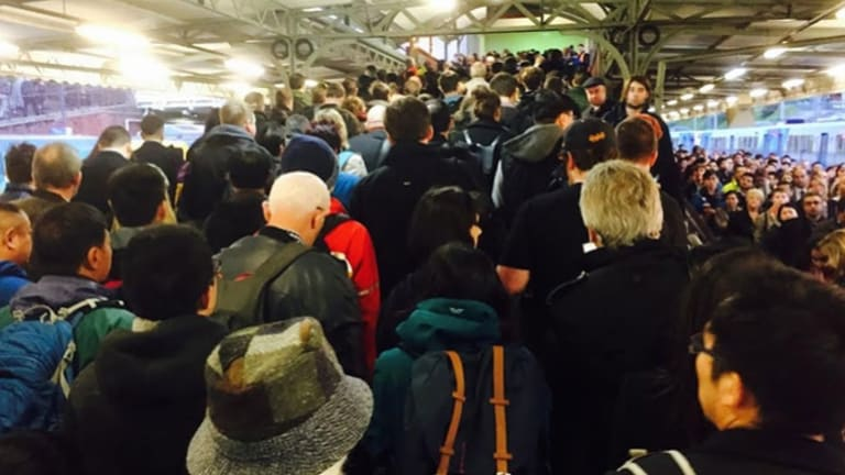 Peak-hour commuters at Camberwell station heading to buses after the horror crash at Surrey Hills.