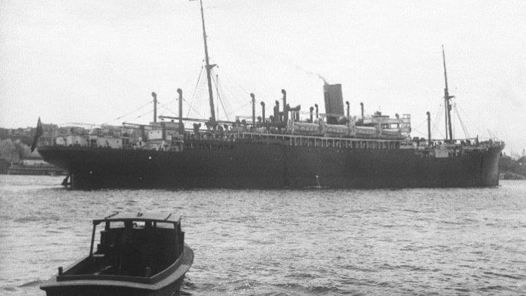 The SS Moreton Bay was one of the vessels chartered by the Dutch government-in-exile that was affected by the waterside workers black bans. Frederick Garner Wilkinson, 1901-1975, ANMM Collection