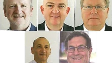 The five Liberal candidates vying for the WA Senate vacancy as they appear on their nomination forms. From left to right: David Barton, Slade Brockman, Mark Lewis (bottom row) Gabi Ghasseb, and Michael Sutherland.