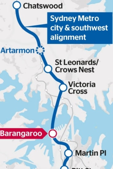 The Sydney Metro city and south-west alignment.