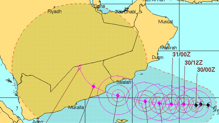 The projected path of Chapala indicates it will reach Yemen on Monday.