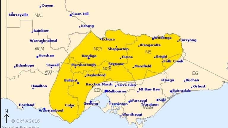 A severe weather warning has been issued for the areas highlighted in yellow.