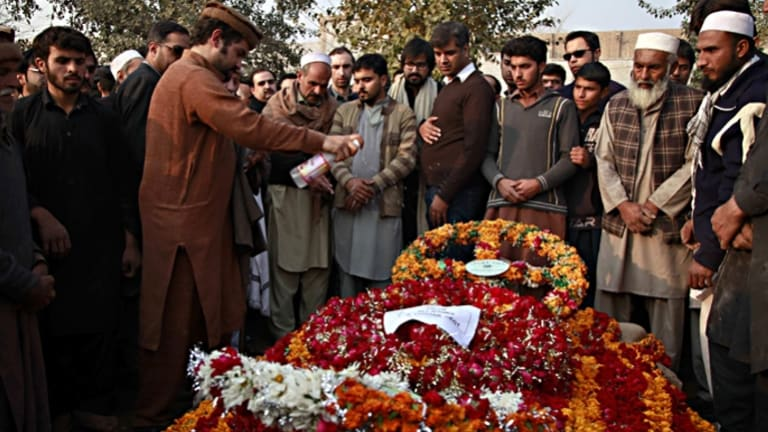 A funeral for a victim of the Pakistan school massacre.