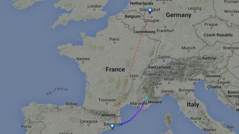 The Germanwings flight 4U9525 as reported by live air traffic website FlightRadar24