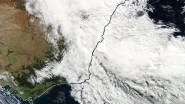 NASA's satellite view of the storm as it passed over Sydney.