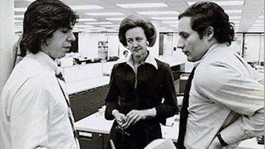 Katharine Graham with <i>Washington Post</i> reporters Carl Bernstein (left) and Bob Woodward in 1972.
