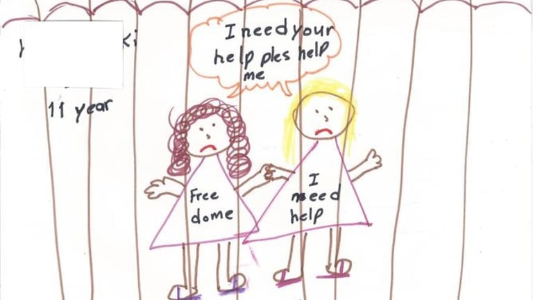A picture drawn by children detained on Christmas Island: The UN has questioned whether Australia's treatment of children is in breach of the anti-torture convention.
