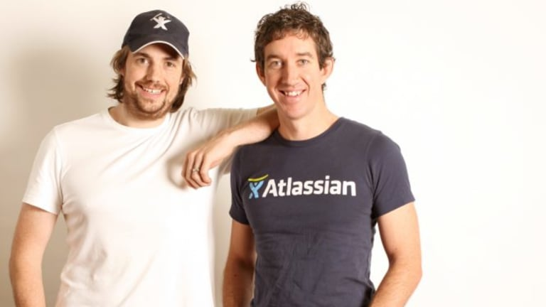 Atlassian co-founders Mike Cannon-Brookes (left) and Scott Farquhar.
