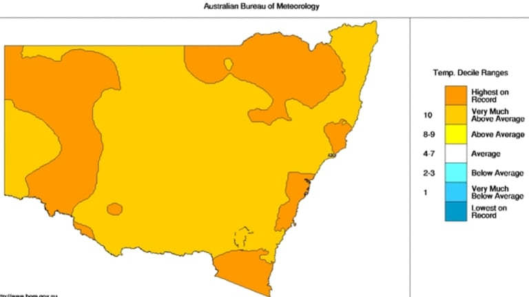 All of NSW was very much above average or highest on record for temperatures in 2014.