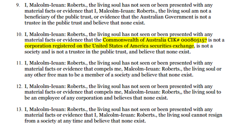 """In the affidavit, Mr Roberts claims there is no evidence the Commonwealth of Australia """"is not a corporation registered on the US securities exchange""""."""