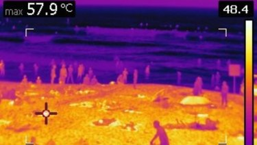 Temperatures in the shade can be hot, but those in the sun, such as Bondi Beach in November 2015, weren't far off 60 degrees, according to heat cameras.
