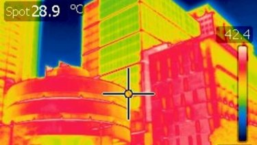 Martin Place shows a relatively balmy 28.9 degrees on the infrared camera at 12.25pm on Friday.