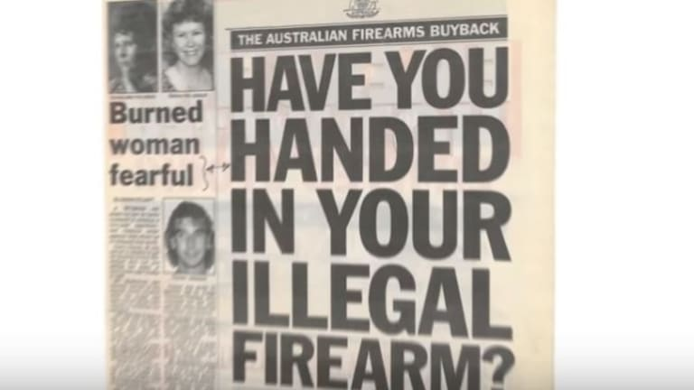 The NRA's video uses government ads from its 1996 gun buyback.