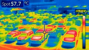 The Sydney Fish Market car park shows a temperature of 57.7 degrees. on the infrared camera  at 11.15am on Friday.