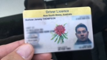 The witness took a photo of Mathew Thompson's driver's licence after confronting him following the crash.