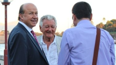 NewSat's Adrian Ballintine and former Former Prime Minister Bob Hawke at Sydney Harbour in 2010.