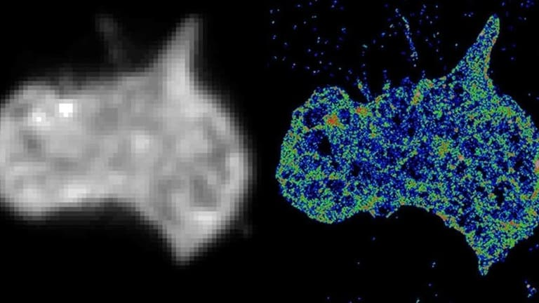Caption: 'An image of a platelet cell taken with a conventional microscope, left, versus an image using Professor Jin's technology.