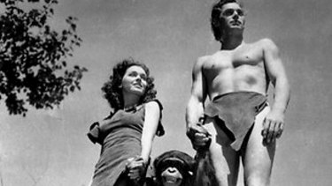 Maureen O'Sullivan as Jane and Johnny Weissmuller as Tarzan in Tarzan the Ape Man.