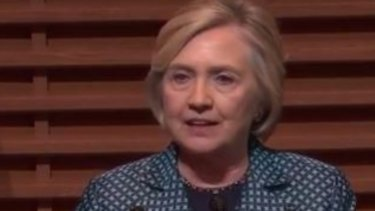 Hillary Clinton speaking at Stanford University.